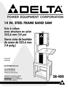 Delta 28 400 14 Quot Steel Frame Band Saw Instruction Manual