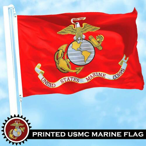 Marines USMC 3x5 ft Printed Brass Grommets 150D Polyester Flag 2 PACK of U.S