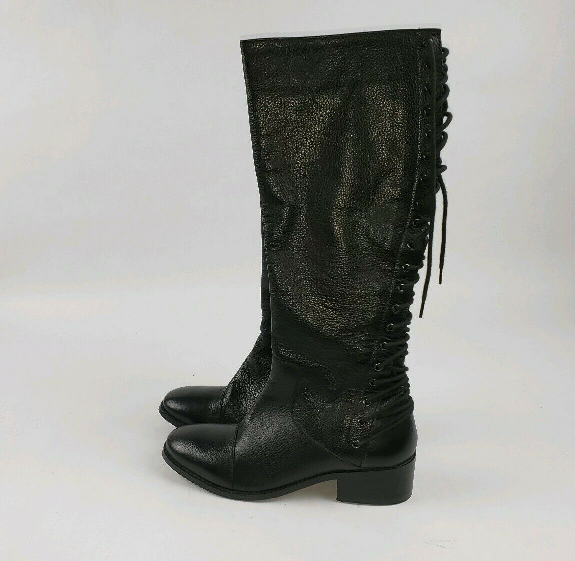 MADE IN  INDIA  BLACK  LEATHER UPPER  WOMEN'S  BOOTS SIZE 7  REAR BACK LACE