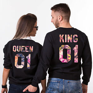 Image Is Loading King And Queen Matching Crewnecks Flower Print
