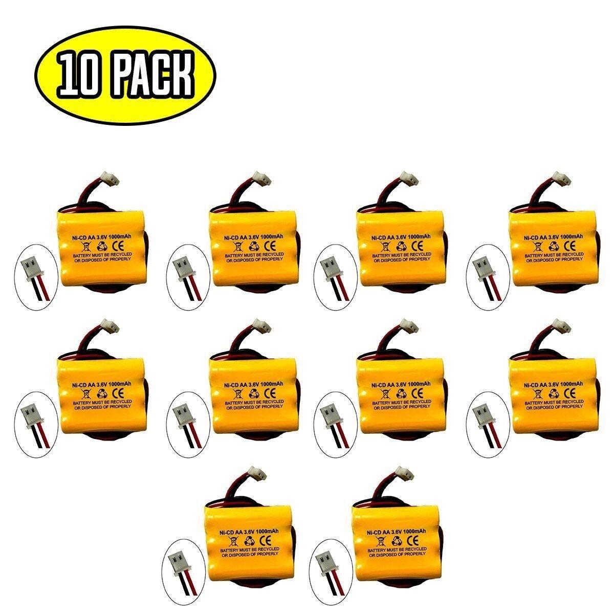 (10 pack) 3.6v 1000mAh Ni-CD Battery for Emergency / Exit Light