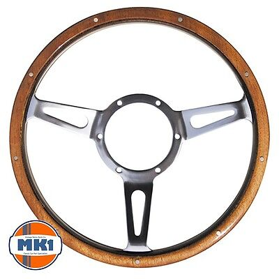 "Classic Car Traditional 14/"" Riveted Dark Wood Rim Steering Wheel Semi Dished"