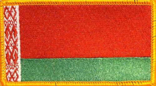 BELARUS Flag Iron-On Tactical Morale Military Patch Gold  Border #81