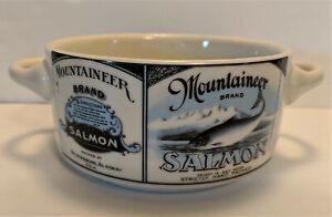 Vintage-Salmon-Label-Handled-Soup-Bowl-Mountaineer-Brand-Alaska
