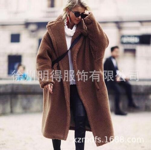 fourrure pour épaisse à à Manteau en manteau ample col long parka d'agneau revers femmes chaude d'hiver qpSE4SwX