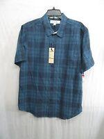 Men's Ezekiel Redneck Woven Short Sleeve Trim Fit Shirt Indigo Size L