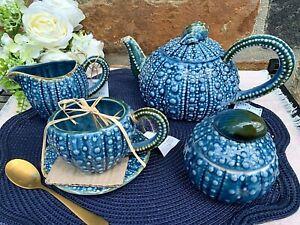 Blue Sky Ceramic Sea Urchin Tea Pot, Tea Cups, Creamer, Sugar Bowl With Lid