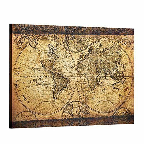 Canvas wall art vintage retro world map for living room office home resntentobalflowflowcomponenttechnicalissues gumiabroncs