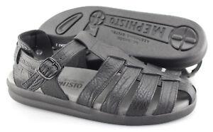 e91a0c56bde Men s MEPHISTO  Sam  Black Leather Fisherman Sandals Size US 10 EUR ...