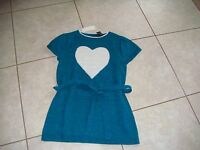 Sweater Project Kids L 14 Girls Heart Long Tie Blue White Sparkle Clothes