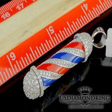 Barber Pole Pendant 925 Silver 14K Yellow/White Gold Finish Simulate Diamond New