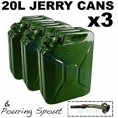 NEW mod fuel gerry 3 x JERRY CANS 20 lt /& Pouring Spout