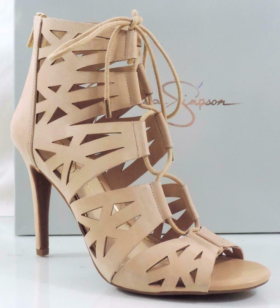 Jessica Simpson Emerita Lace Up Gladiator Sandals Heels Leather Natural Size 11