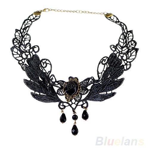 Black Fabric Rose Flower Beads Pendant Collar Choker Lace Lolita Necklace BC4U