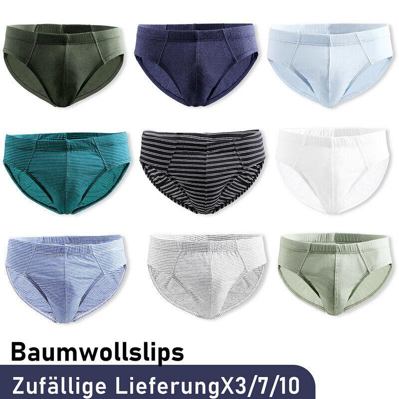 3-7x Herren Slip Dehnen Unterwäsche Unterhosen Unterhose Maenner Baumwolle S-XXL
