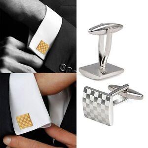 Vintage-Men-Elegant-Shirt-Suit-Silver-Square-Grid-Cufflinks-Wedding-Cuff-Links