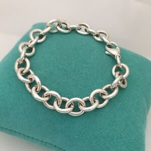 ff343080a1acb Details about Tiffany & Co Sterling Silver Rolo Chain Link Bracelet with  Lobster Clasp