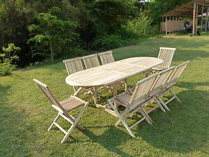 Détails sur Salon de jardin en teck ensemble table MAHUI + 8 chaises  pliantes JALANG