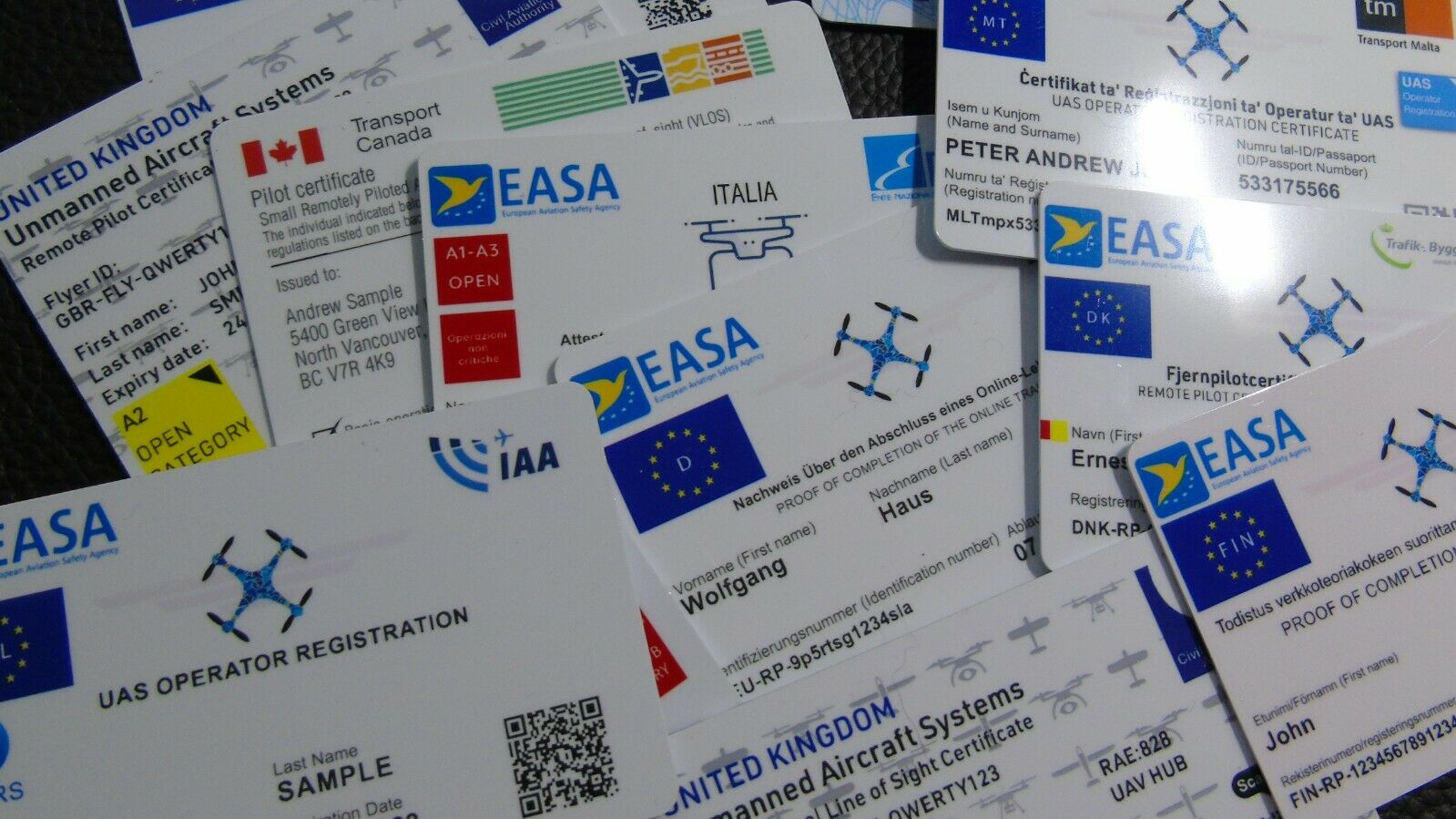 Drone plastic ID card set - all designs - UK/all countries with lanyard/holder