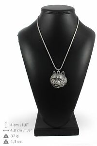 Norwich-Terrier-silver-plated-pendant-on-the-silver-chain-Art-Dog-IE