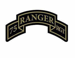 Army Military Tab Veteran Car Truck Sticker Vinyl Decal 75th RANGER REGIMENT