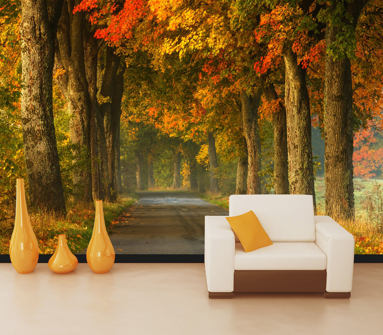 3D Autumn trees 2433 Wall Paper Wall Print Decal Wall Deco Indoor Wall Murals