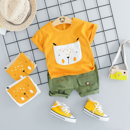 Toddler Baby Kids Boys Summer Cartoon Dog Tops+Short Pants Party Clothes Outfits
