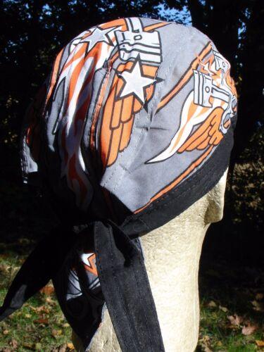 Black Orange Pistons Wings Doo Rag Head Wrap Cap Biker Durag Sweatband Capsmith