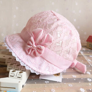 333d64af80e Princess Hat Cute Bow Solid Lace Hollow Baby Girls Cap Beach Bucket ...