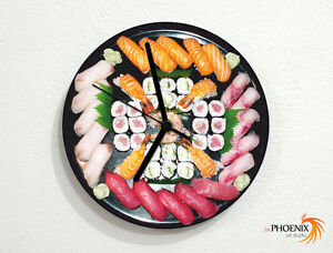 Sushi Plate-nourriture Japonaise-handscroll Sashimi-horloge Murale-afficher Le Titre D'origine