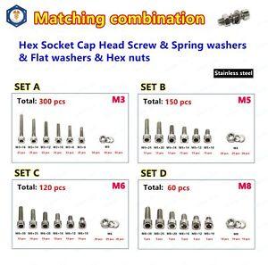 M3,M5,M6,M8 Stainless Steel Socket Cap Head Screw /& Hex Nut /& Washers Assortment