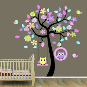 Huge-Swing-Owl-Birds-Colourful-Scroll-Tree-Wall-Art-Decal-Stickers-Nursery-Mural