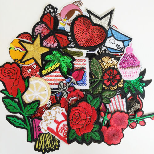 25pcs Random Sew-on /& Iron-on Patches Embroidery Patch Appliques Craft