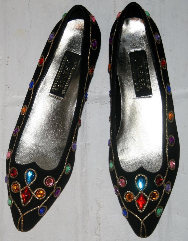 J. RENEE Black Suede Multicolor Stones gold Trim SHOES 9.5M HEELS 1  EUC