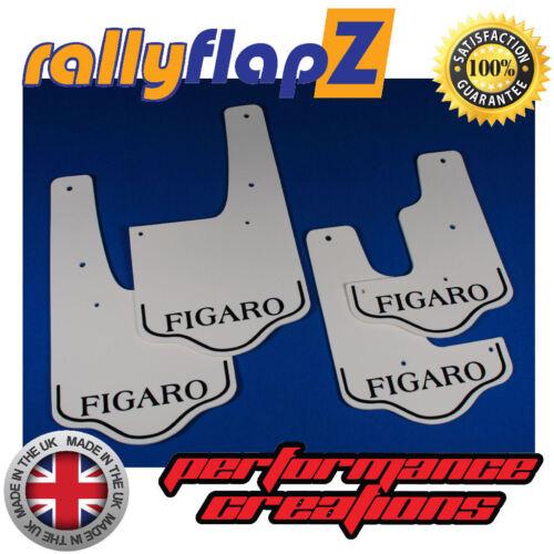 RallyflapZ Nissan Figaro recreados mudflaps MUD FLAPS Blanco 4 mm Negro con el logotipo de PVC