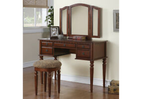 Details about Makeup Vanity Table Set Girls Bedroom Vanities Large With  Mirror Drawers Wood