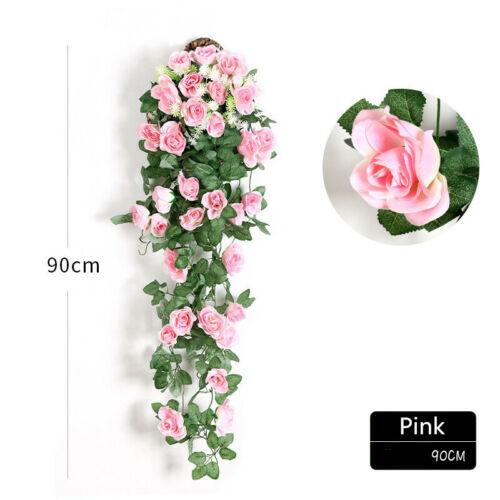Artificial Silk Rose Flower Ivy Vine Store Hanging Garland Wedding Decor 90CM