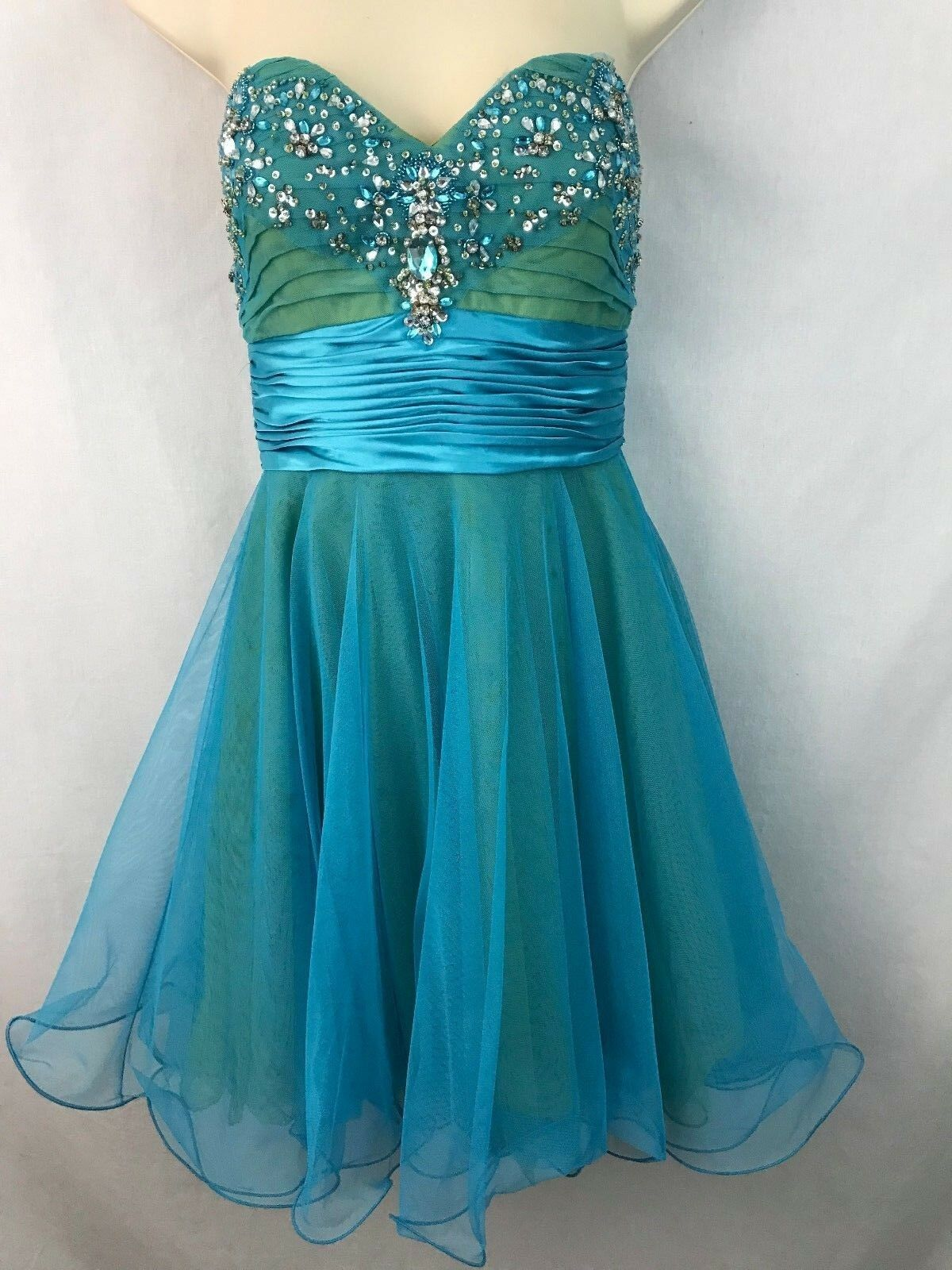 Adrianna Papell Sz 4 Strapless Prom Party Cocktail Dress Short Bright Blau Bling