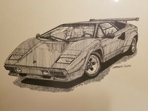 Lamborghini Countach Print 12 X 9 Black White Poster Art
