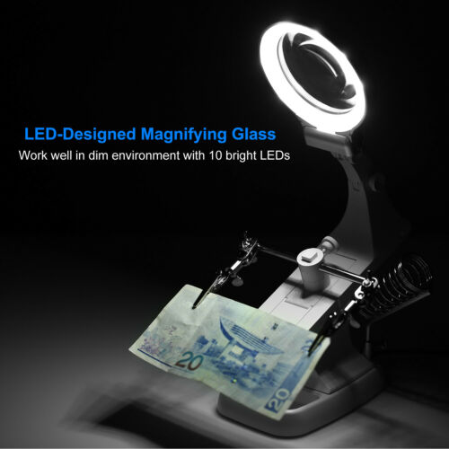 LED Helping Hand Magnifying Soldering Stand Lens Magnifier Clamp Tool Kit