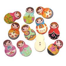 Confezione da 20 bottoni legno. BAMBOLA RUSSA Design 30 x 19mm cucito arte Gratis P&P