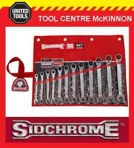 SIDCHROME-SCMT22298-12pce-PRO-SERIES-RATCHET-RING-amp-OPEN-END-METRIC-SPANNER-SET