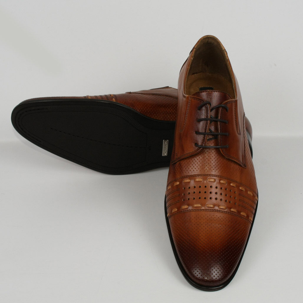 Herren Leder Halb Business Schnürer Neu 41 Braun Schuhe