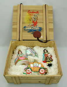 POLONAISE-KOMOZJA-4-PC-CINDERELLA-ORNAMENT-COLLECTION-IN-WOOD-CRATE-POLAND