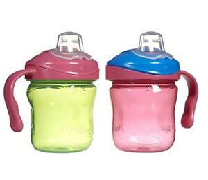 Pink//Green Playtex 2-Pack Stage 1 Sipsters Soft Spout 6 oz Training Cups 4M