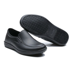 Details About Men S Work Shoes Restaurant Kitchen Water Oil Resistant Non Slip Black Slip On
