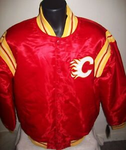26547c6547c CALGARY FLAMES NHL STARTER Satin Snap Down Jacket Traditional XL 2X ...