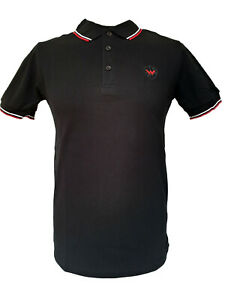 Warrior-UK-England-Pique-Polo-Shirt-Black-Red-White-Slim-Fit-Skinhead-Mod-Retro