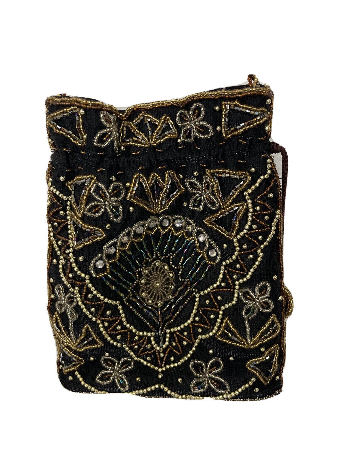 Womens Black Gold Silver Cooper Beaded Evening Drawstring Handbag Shoulder Bag