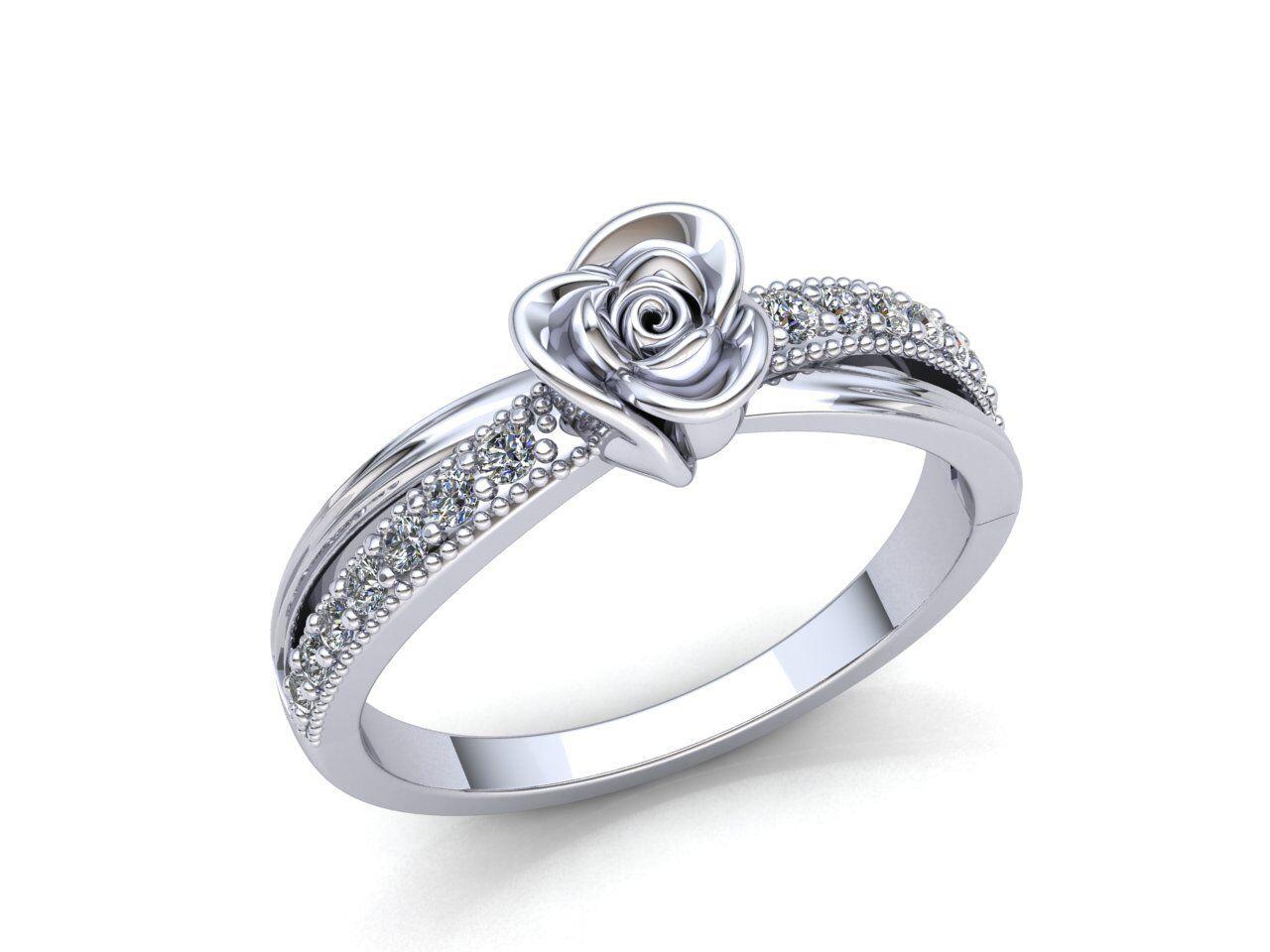 0.5carat Round Cut Diamond Ladies Milgrain Flower Fancy Engagement Ring 18K gold